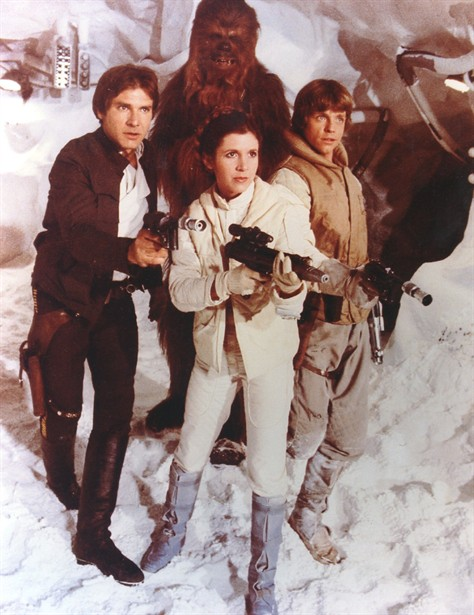 Carrie Fisher,Harrison Ford,Mark Hamill,Peter Mayhew