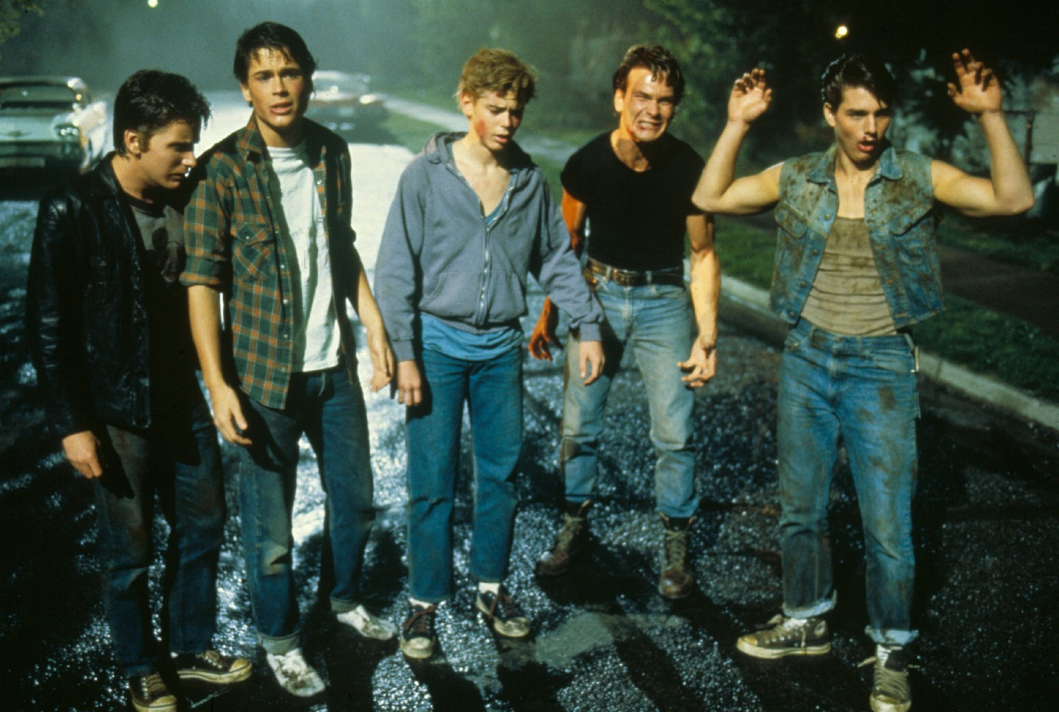 C. Thomas Howell,Matt Dillon,Patrick Swayze,Rob Lowe,Tom Cruise